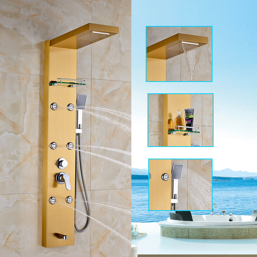 Ulgksdl Gold Shower Faucet Waterfall Rainfall Set With 6Pcs ...
