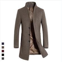 Осень и зима новый шерстяные пальто в длинный абзац Тонкий мужская шерстяное пальто