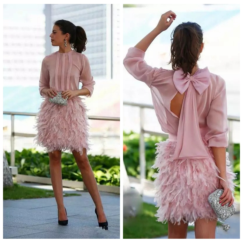 Jewel Sheath Feather Shirt Cocktail Dresses 2021 Formal Vestidos De Prom Party Gowns Custom Special Occasion Dress For Women