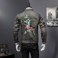 New Spring Men's Denim Jacket Embroidery Punk Stylish Jeans Coat Retro Plus Size M 4XL M55