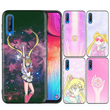 Black Silicone Case Bag Cover for Samsung Galaxy M10 M20 M30 S8 S9 S10 S10e 5G J3 J4 J5 J8 Plus 2018 S7 Edge Girl Sailor Moon(China)