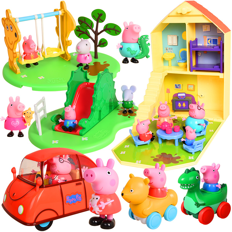 Original box! Genuine Peppa pig happy family car playhouse action figures slide swing color change bear sport car children's toy image