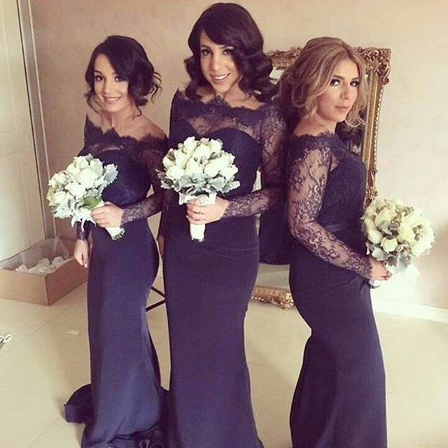 Navy Blue 2017 Mermaid Long Sleeves Floor Length Satin Lace Long Bridesmaid font b Dresses b