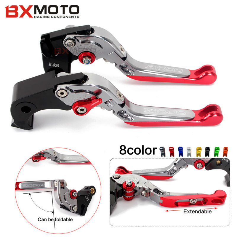 Motorcycle Accessories Cnc Folding Adjustable Motorbike Brake Clutch Levers Set For Kawasaki Z1000 Zx6r / Zx636r / Zx6rr Zx10r laser logo z1000 green titanium motorcycle cnc folding adjustable brake clutch levers for kawasaki z1000 2003 2004 2005 2006