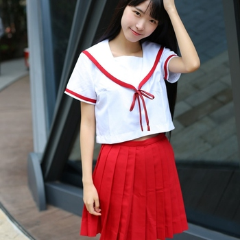 Summer JK Uniform Japanese Navy Cosplay School Uniforms Preppy Chic Cute Girls Sailor Suit Sets Students  Pleated Skirt japanese school uniforms anime cos sailor suit tops bow tie skirt jk navy style students clothes for girl short sleeve