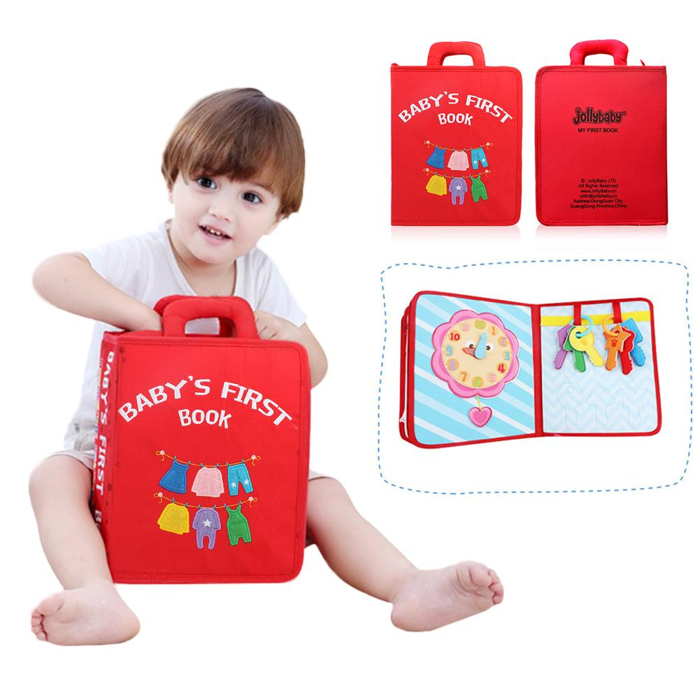 For Jollybaby Montessori Early Education Baby Cloth Book Tear Simulation Dressing Resistant Baby Cloth Book