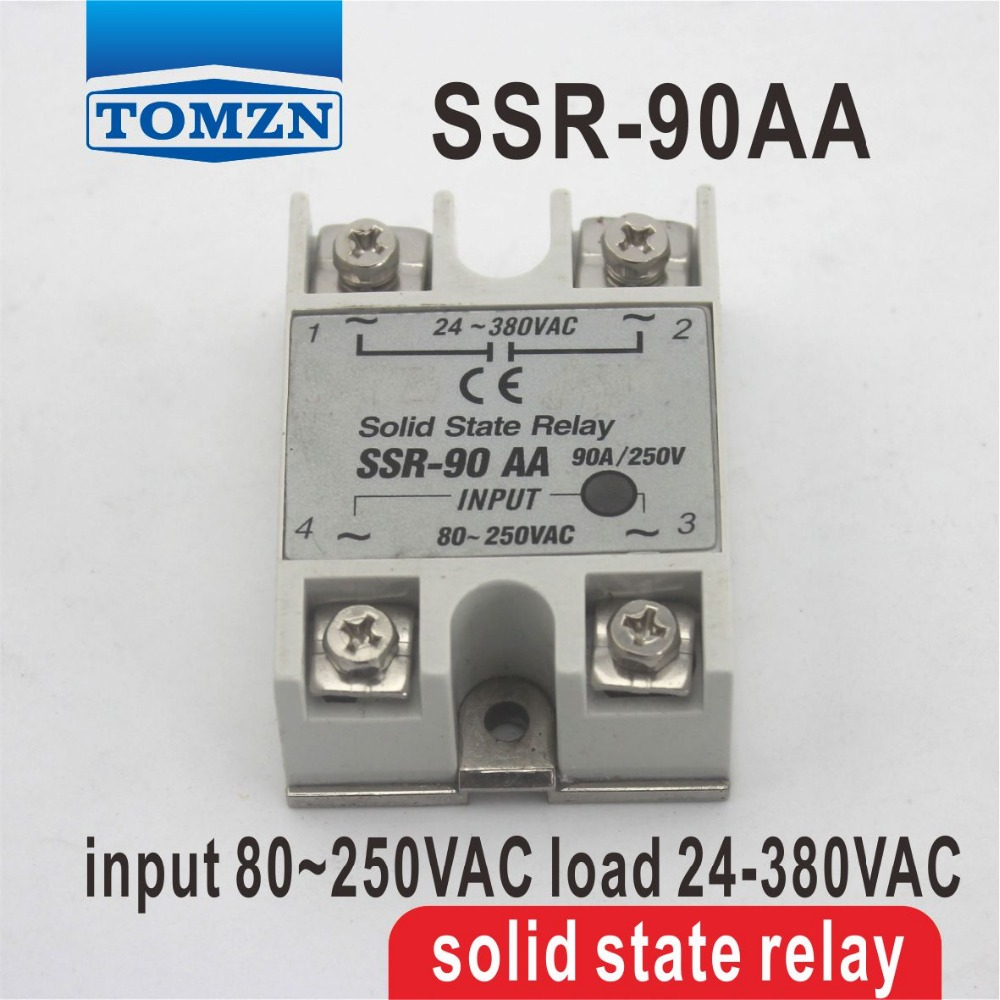 90AA SSR input 80~250VAC load 24-380VAC single phase AC solid state relay Resistance Regulator normally open single phase solid state relay ssr mgr 1 d48120 120a control dc ac 24 480v