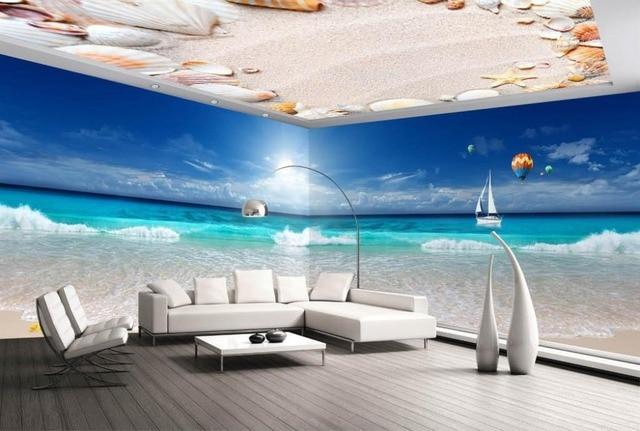 Lukisan Wallpaper Laut Pantai Tema Desain Non Woven Ruang Tamu Sofa Tv