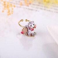 Frankreich Les Nereides Öffnen Emaille Gold Ringe Hund Katze Ring Finger Für Frauen Partei schmuck Schöne Zubehör Geschenk Neue Gute qualität