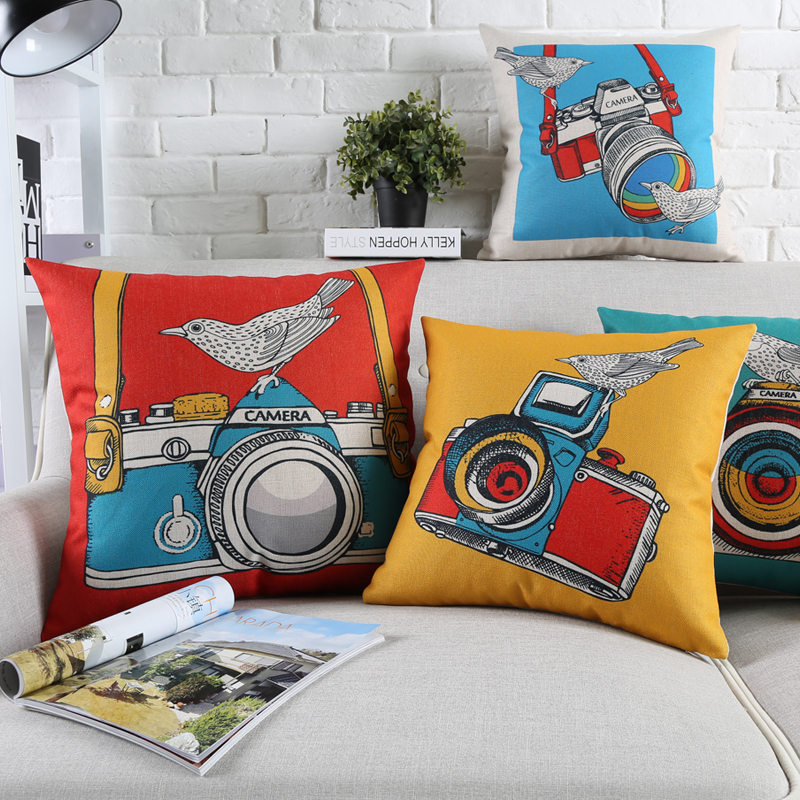 modern art chair covers and linens hanging b&m watercolor painting camera birds cushion minimalist pop pillow cover sofa linen cotton case