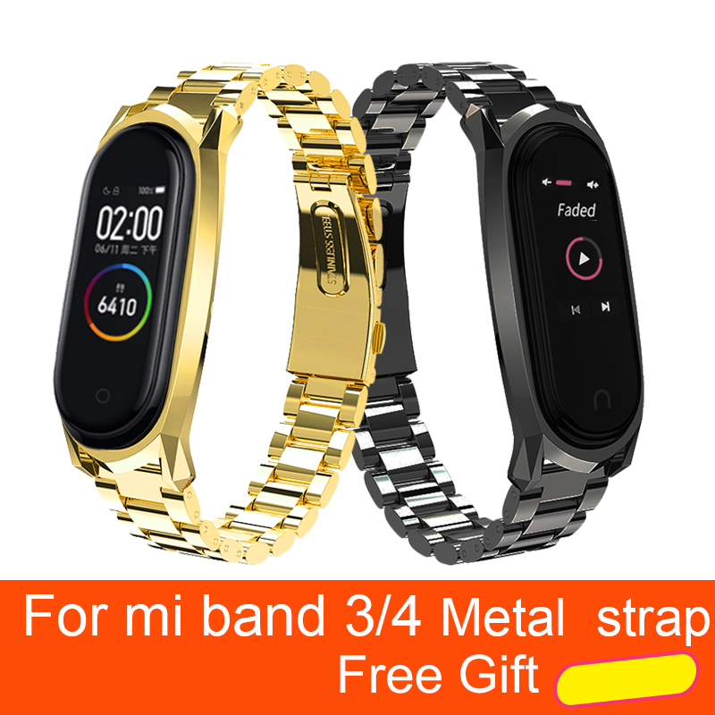 For Xiaomi Mi Band 4 Metal Strap Screwless Stainless Steel Bracelet MiBand 4 Wristbands Replace Accessories Mi Band4 STRAP NFC(China)