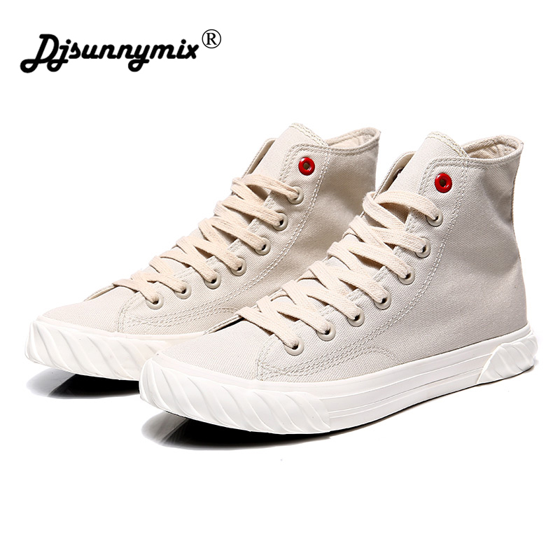 DJSUNNYMIX New 2018 Spring Autumn Fashion High Top Sneakers Canvas Shoes Men Casual Shoes Flat Male Lace Up Solid Trainers