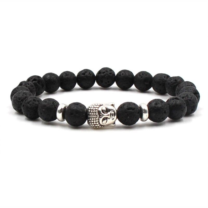 HOBBORN Classic Natural Stone Women Men Bracelet 8mm Tiger Eye Lava Stone Buddha Head Beads Charm Bracelets Meditation Jewelry