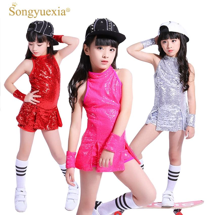 SONGYUEXIA Children Stage Dancewear Kid Hip-hop Jazz Dance Suit Paillette Modern Dance Clothing Girl Cheerleading Costumes