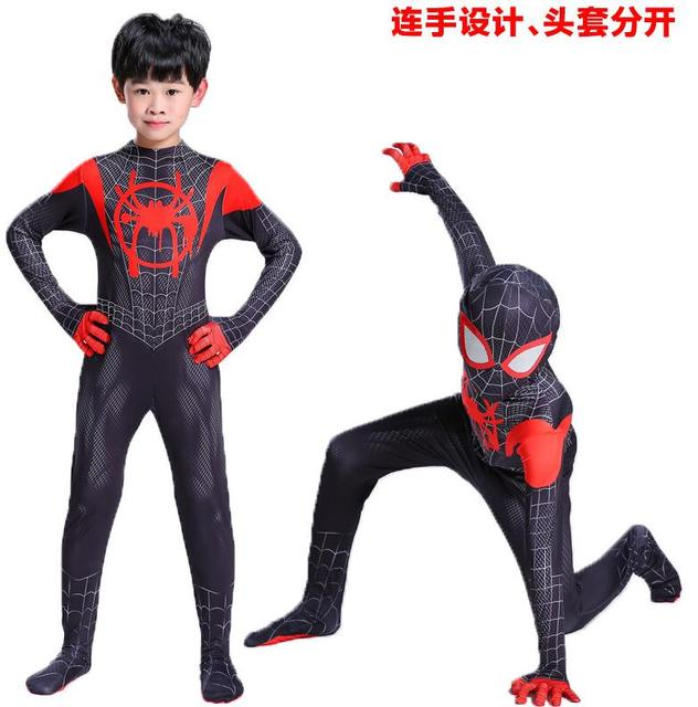 New 2018 Kids Spider-Man Into the Spider-Verse Miles Morales Cosplay Costume Zentai Spiderman Pattern Bodysuit Suit Jumpsuits 2