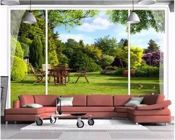 Beibehang de 3d papel windows jardín al aire libre view HD foto mural dormitorio fondo de sala de papel de pared