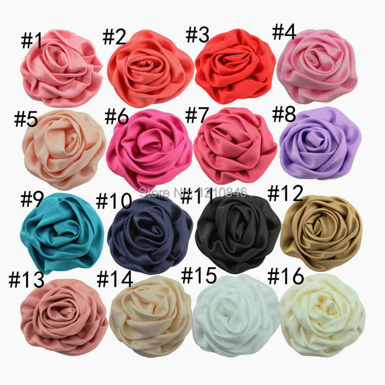 16pcs/lot 7CM Multilayer Satin Rosettes Kids Boutique Shabby Frayed Rose Flowers Girls Hair Accessories