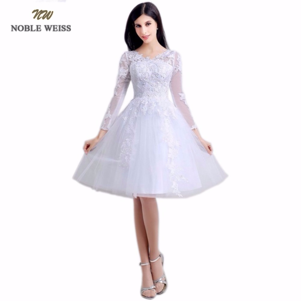 NOBLE WEISS Short Prom Dress V-Neck Appliques Zipper Back A-Line Knee-Length Party Dresses With Long Sleeves