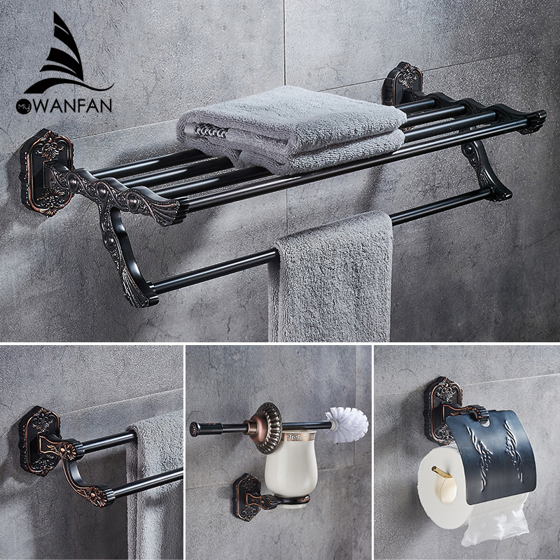 Bath Hardware Sets Brushed Copper Carved Base Bathroom Accessories Bath Towel Shelf Towel Bar Paper Holder Cloth Hook WF-92100 luxury european brass bathroom accessories bath shower towel racks shelf towel bar soap dishes paper holder cloth hooks hardware page 3