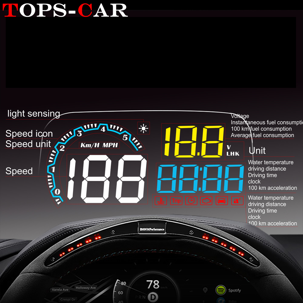 GEYIREN New Arrival Mirror HUD C600 Car Head up display Windshield Speed Projector Security Alarm Overspeed RPM Voltage-in Head-up Display from Automobiles & Motorcycles