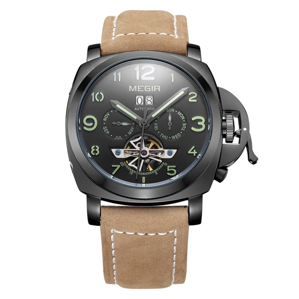 MEGIR2713 New Brand Causal Geniune Leather Mechanical Watch Date Chronograph Luminous 3ATM sport Military Watch Fashion