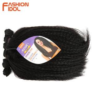 Image 3 - MODE IDOL Afro Verworrene Gerade Haarwebart 6Bundles Mit Closure Ombre Synthetische Haar Verlängerung 7 teile/los 16inch Für schwarz Frauen