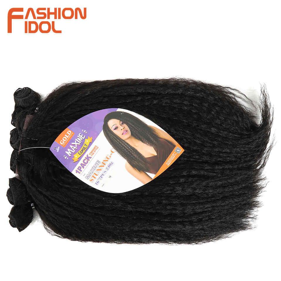 Mode Idol Afro Kinky Steil Haar Weave 6 Bundels Met Sluiting Ombre Synthetisch Haar Uitbreiding 7 Stks/partij 16Inch Voor zwarte Vrouwen