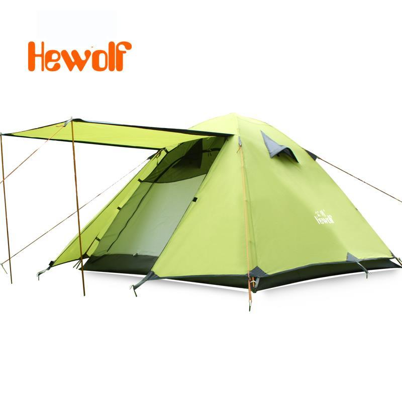 Hewolf Camping Tents Travel Automatic Waterproof Double Layer 3-4 person Outdoor Hiking Beach Aluminum Alloy Four Season Tent