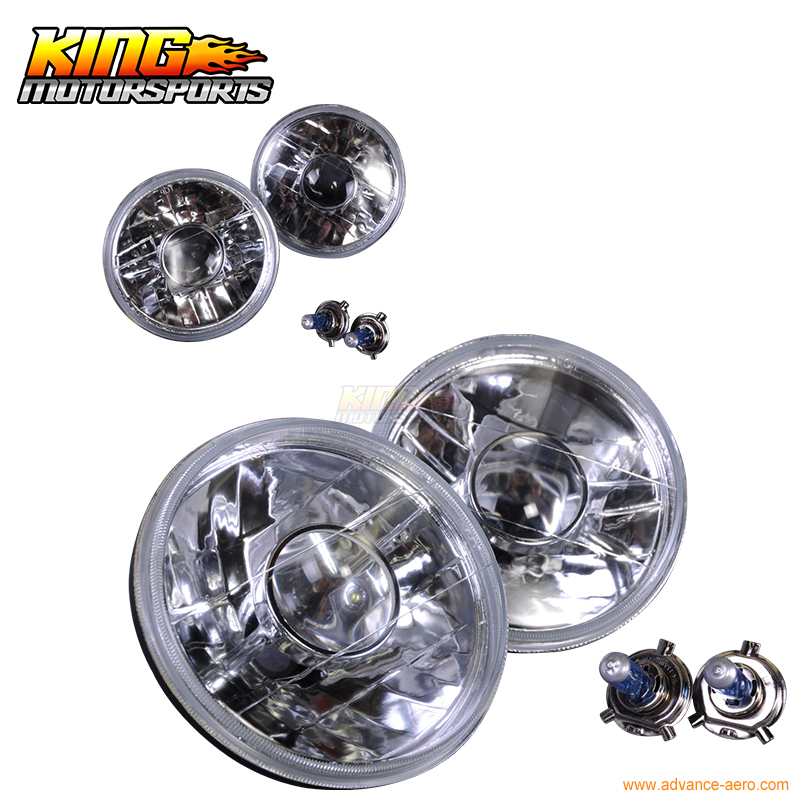 For 1980 1986 Ford Bronco 7 X 6 Clear Diamond Pair Square Headlights Lamps With Bulbs USA Domestic Free Shipping