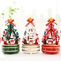 1 Adet Beyaz veya Kırmızı, dönen müzik noel ağacı Noel hediyesi Noel ağacı müzik kutusu noel kapalı Dekorasyon, ücretsiz Kargo