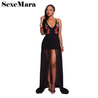 Deep V Embroidery Black Tight Jumpsuit With Chiffon Skirt 2017 Summer Playsuit Sexy Outfits For Women