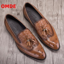 OMDE Vintage British Style Soft Leather Tassel Men Loafers Fashion Pointed Toe Mens Dress Shoes Slip On Business Casual Shoes cangma british style leather pointed shoes tassel casual men handmade designer leisure slip on shoes 2017 male sapato masculinos