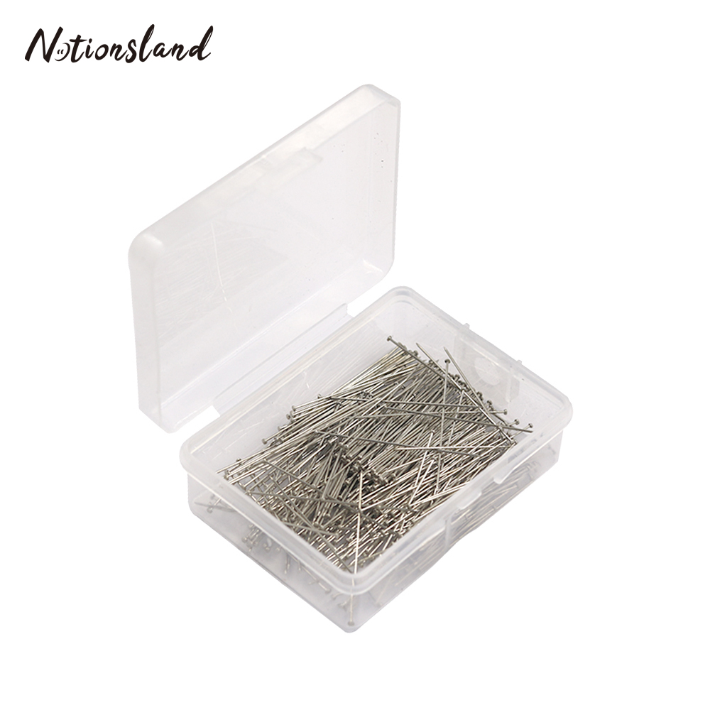 200Pcs//Box Fine Satin Office Sewing Accessories Dressmaker Jewelry Making Needle Craft DIY 28mm Pins Stainless Steel Silver