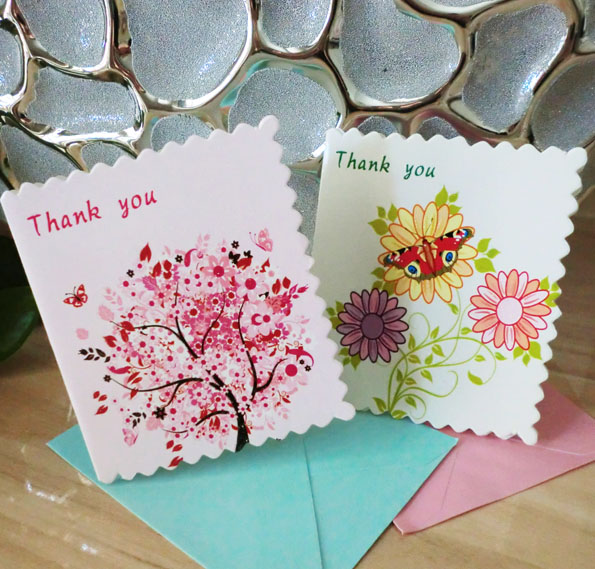 16pcsset Mini Thank You Greeting Cards With Envelope For Business