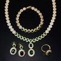 Conjuntos de collar verde 4 unids un conjunto de collar pendientes pulsera y anillo collar sistema de la joyería del banquete de boda para mujeres