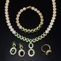 Green necklace sets 4pcs a set of necklace earrings bracelet and ring wedding party necklace set jewelry sets for women