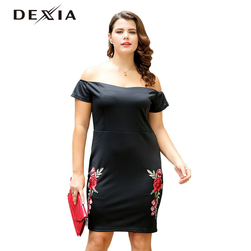 DEXIA Plus Size Embroidery Dress Women Spring Slash Neck Short Sleeve Sexy Dresses Knitted Party Backless Off Shoulder Dress plus size double pockets knitted dress