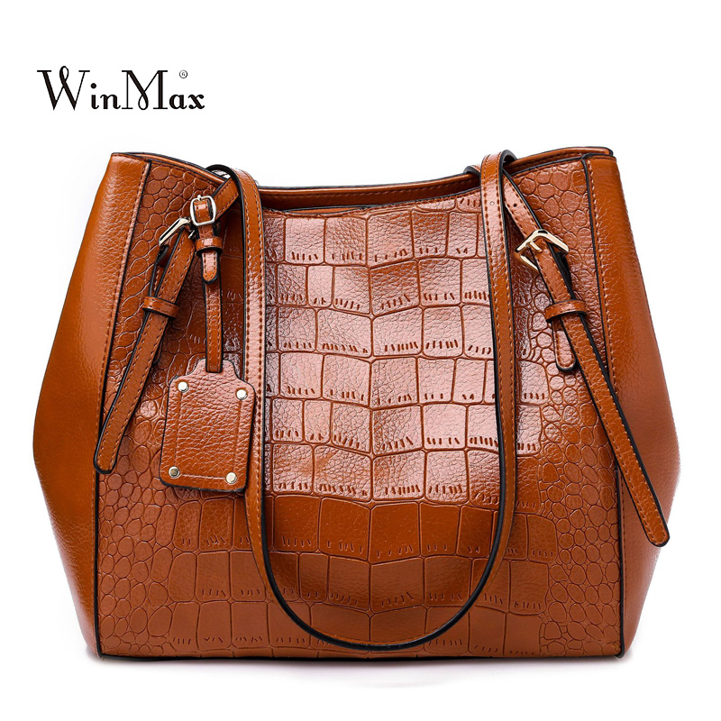 Fashion Crocodile Casual Tote Bags Handbags Women Famous Brands Shoulder Bag Female Large Capacity Bolsas Ladies Messenger Bags elunico 2018 new tassel shoulder bags handbags women famous brands casual genuine leather tote bag large capacity messenger bags