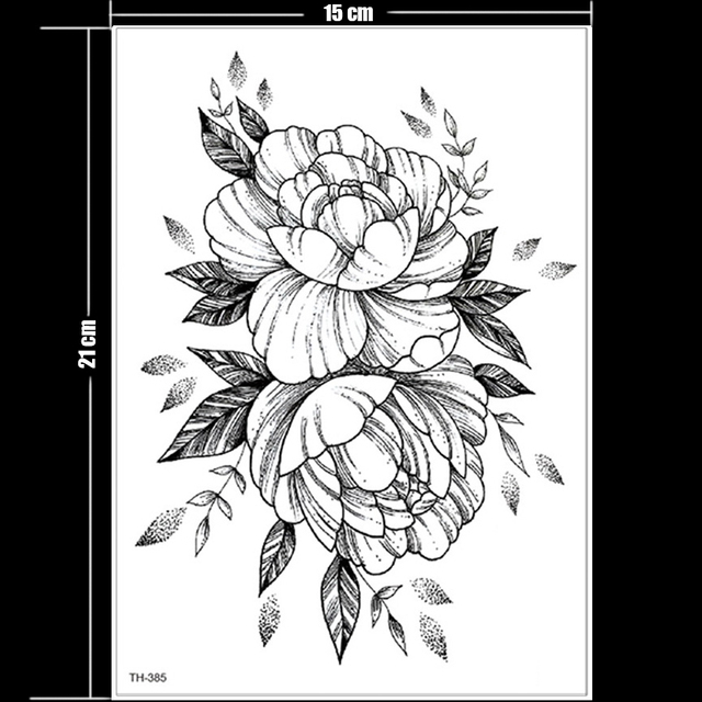 temporary tattoo black flower tattoo sleeves water transfer tatoo sticker peony rose tattoos body art sexy tatoo girl arm tatto 5