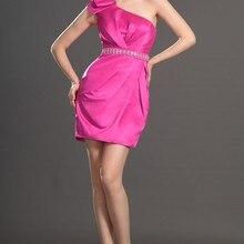 Новое милое прямое платье на одно плечо бюст с рюшами атласное коктейльное платье