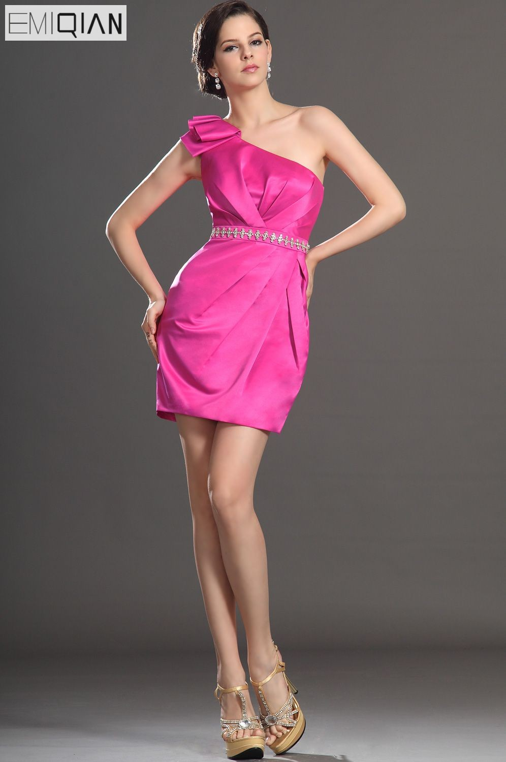 FreeShipping New Lovely One Shoulder Straight Gown Ruched Bust Satin   Cocktail     Dress