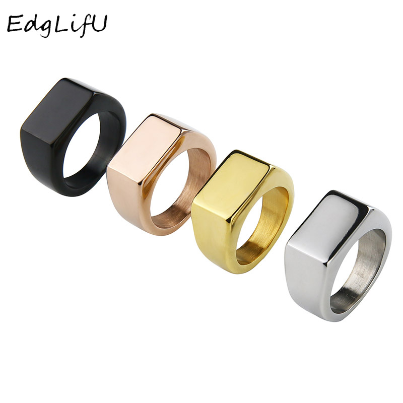 EdgLifU Mens Rectangle Ring Band Polised Pure Color Silver Rings Stainless Steel Solid Jewelry For Men Engrave Logo Anillo