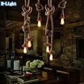 Single Bulb / 2 Bulb Creative Personality Rope Pendant Lights Vintage Restaurant Lamp Dining room pendant lamps hemp rope light