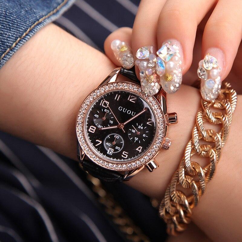 Women Watch GUOU Luxury Brand Fashion Women Leather Strap Bracelet Rhinestone Crystal Calendar Quartz-watch Clock Reloj Mujer 2016 weiqin famous brand business women watch 5 atm leather strap analog calendar function female quartz watch reloj mujer
