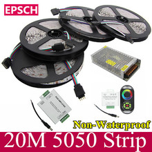 20 M 5050 tira del RGB LED 60 Leds / M SMD Flexible 18A Wireless Touch Controller + 24A amplificador 12 V 20 A potencia