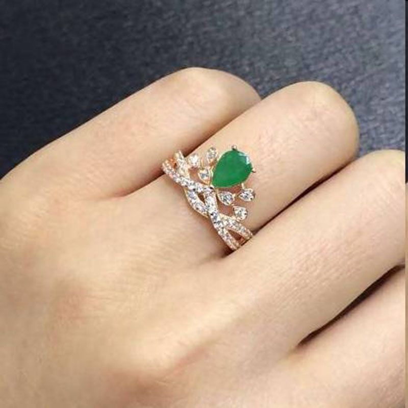 2017 Jewelry Qi Xuan_Fashion Jewelry_Colombia Green Stone Fashion Rings_Rose Gold Color Woman Rings_Factory Directly Sales 2017 rushed qi xuan fashion jewelry