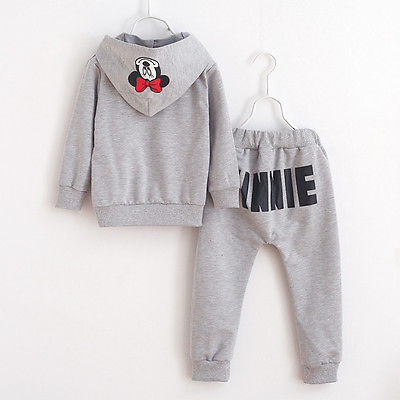2pcs Baby Girls Kids Minnie Mouse Clothes Set Long Sleeve Hooded Coat Pants Oufits Clothes Set 2-7y #6