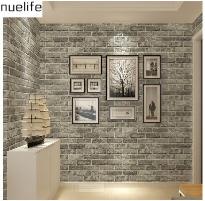 ФОТО 0.53x10m Retro Chinese Style Brick Brick Wallpaper Living Room Restaurant Apparel Hotel 3D  Culture Stone parrten Wallpaper