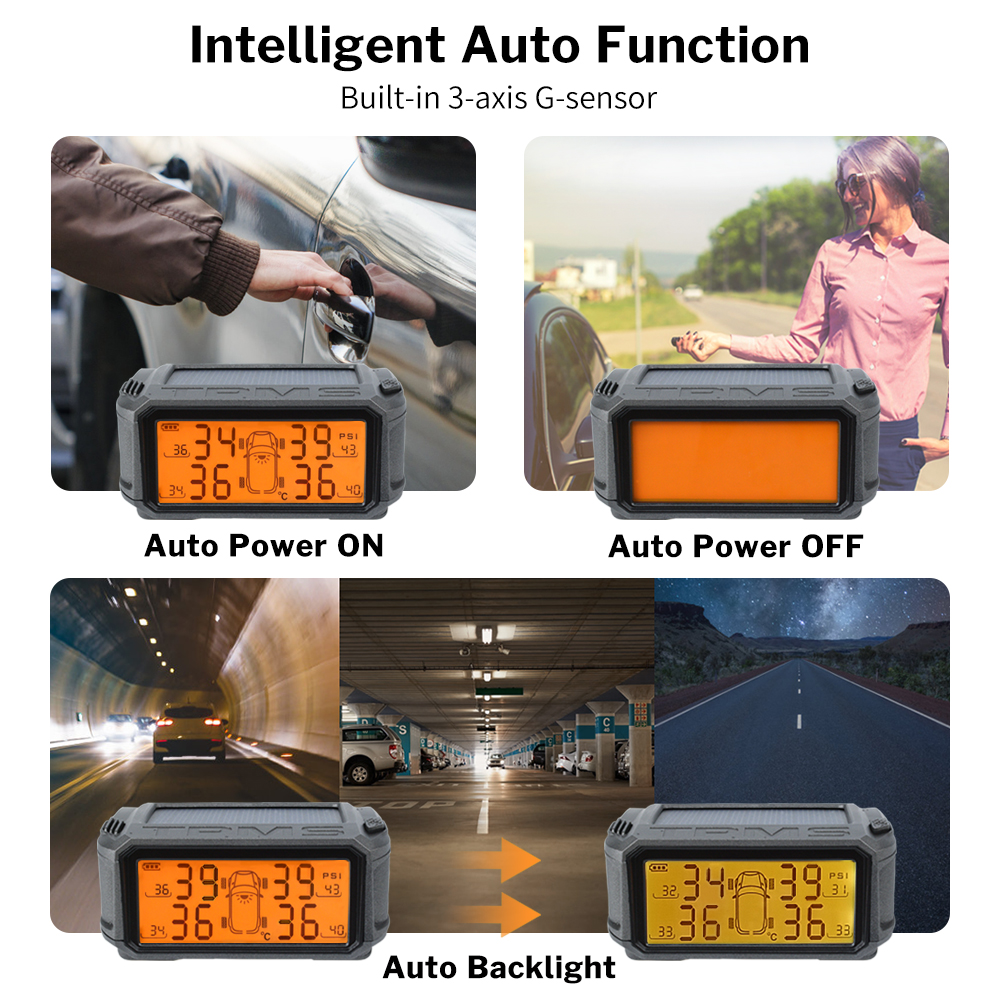 Image 5 - Tire Pressure Monitoring System TPMS Sensor Solar Car Security Smart Tyre Control Wireless 4 Wheels External Internal Sensors-in Tire Pressure Alarm from Automobiles & Motorcycles