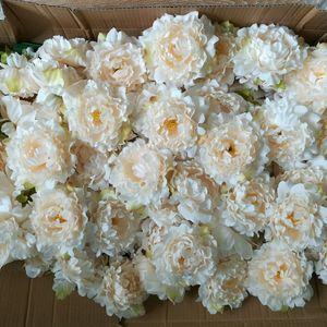 Image 1 - Quantum têtes de pivoines en soie, 15cm, 100 fleurs, gros, pour arrière plan de photographie de mariage